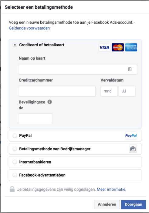 10. Betalingsmethode toevoegen aan nieuw Facebook Advertentieaccount2