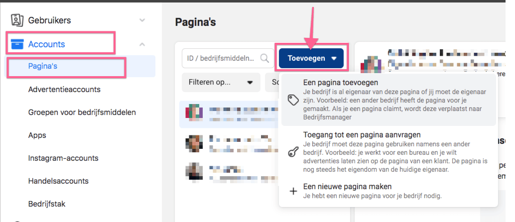 11. Facebook Pagina toevoegen aan Facebook Advertentie account
