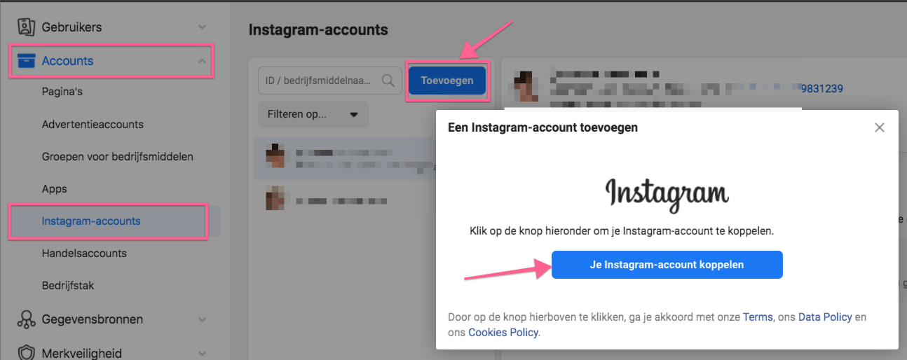 12. Instagram account koppelen aan Facebook Advertentie account