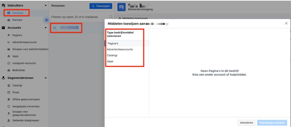 14. Middelen toewijzen aan toegevoegde personen Facebook Advertentie account
