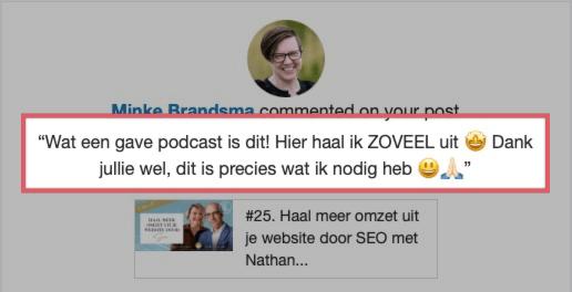 Testimonial Van Klik naar Klant Podcast haal meer uit je website door SEO met Nathan Veenstra