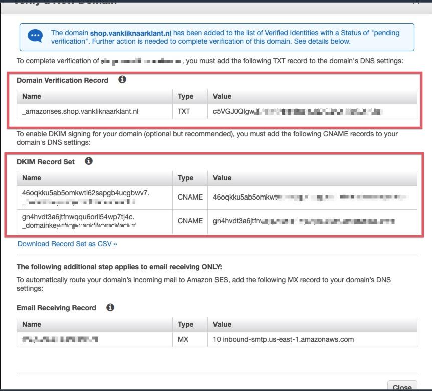 Het verifieren van je domein in Amazon SES