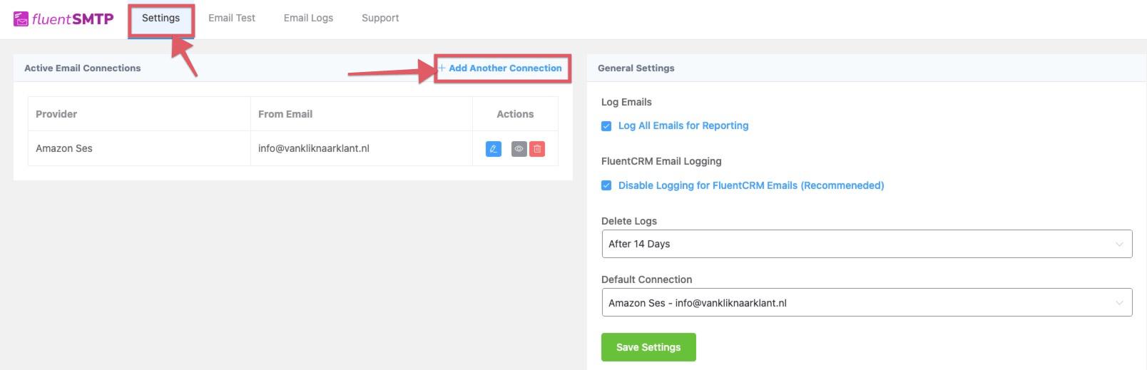 FluentSMTP instellen met een Amazon SES account